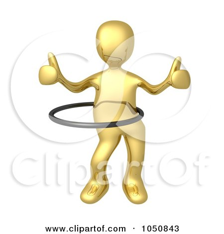 Royalty-Free (RF) Clip Art Illustration of a 3d Gold Man Holding Two Thumbs Up And Using A Hula Hoop by 3poD