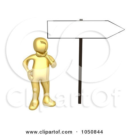 Royalty-Free (RF) Clip Art Illustration of a 3d Gold Man Pondering By A Blank Directional Sign by 3poD