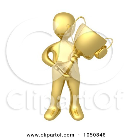 Royalty-Free (RF) Clip Art Illustration of a 3d Gold Man Holding A Trophy Cup by 3poD