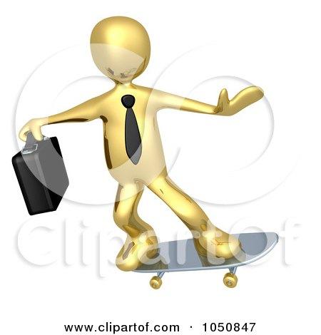 Royalty-Free (RF) Clip Art Illustration of a 3d Gold Business Man Skateboarding by 3poD