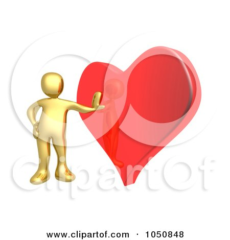Royalty-Free (RF) Clip Art Illustration of a 3d Gold Man Leaning Against A Red Heart by 3poD