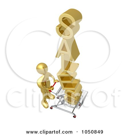 Royalty-Free (RF) Clip Art Illustration of a 3d Gold Man Pushing SALES In A Shopping Cart by 3poD