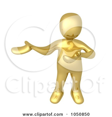 Royalty-Free (RF) Clip Art Illustration of a 3d Gold Man Presenting by 3poD