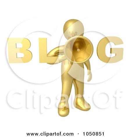 Royalty-Free (RF) Clip Art Illustration of a 3d Gold Blog Man Holding A Megaphone by 3poD
