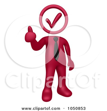 Royalty-Free (RF) Clip Art Illustration of a 3d Burgundy Red Business Man With A Check Head, Holding A Thumb Up by 3poD