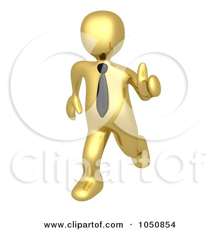 Royalty-Free (RF) Clip Art Illustration of a 3d Gold Business Man Running With A Thumb Up by 3poD