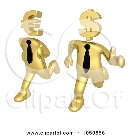 Royalty-Free (RF) Clip Art Illustration of a 3d Gold Business Men Running With Euro And Dollar Heads by 3poD