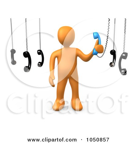 Royalty-Free (RF) Clip Art Illustration of a 3d Orange Man Answering An Important Call by 3poD