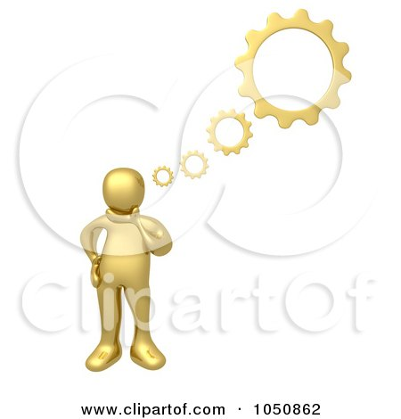 Royalty-Free (RF) Clip Art Illustration of a 3d Gold Man Thinking With Gears by 3poD