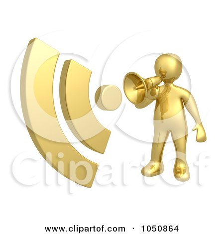 Royalty-Free (RF) Clip Art Illustration of a 3d Gold Man Announcing RSS With A Megaphone by 3poD