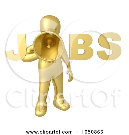 Royalty-Free (RF) Clip Art Illustration of a 3d Gold Man Making A Job Announcement by 3poD