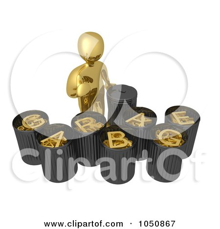 Royalty-Free (RF) Clip Art Illustration of a 3d Gold Man Recycling And Sorting Garbage by 3poD