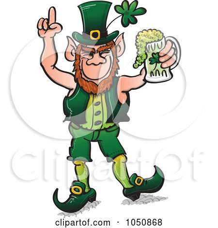Royalty-Free (RF) Clip Art Illustration of a St Patricks Day Leprechaun Celebrating With Beer by Zooco