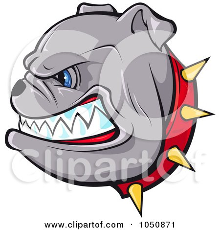 Royalty-Free (RF) Clip Art Illustration of a Growling Bulldog In A Red Spiked Collar by Paulo Resende