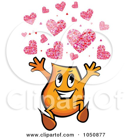 Royalty-Free (RF) Clip Art Illustration of an Orange Blinky Running With Hearts by MilsiArt