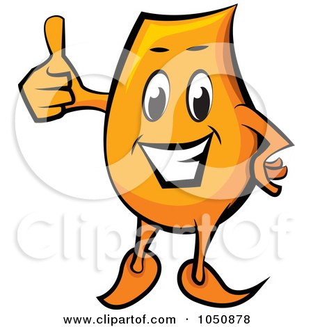 Royalty-Free (RF) Clip Art Illustration of an Orange Blinky Holding A Thumb Up by MilsiArt