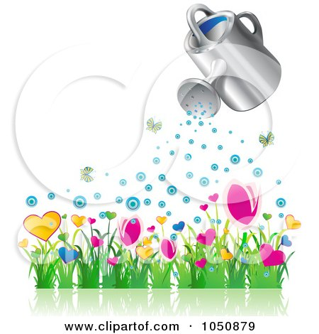 Royalty-Free (RF) Clip Art Illustration of a 3d Watering Can Over A Flower Garden by MilsiArt