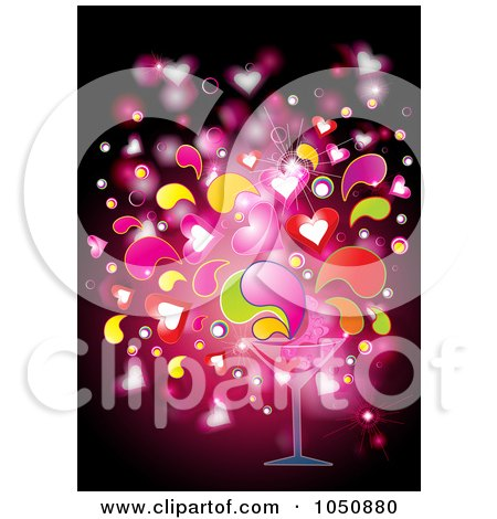 Royalty-Free (RF) Clip Art Illustration of a Love Potion Splashing Out Of A Cocktail Glass by MilsiArt