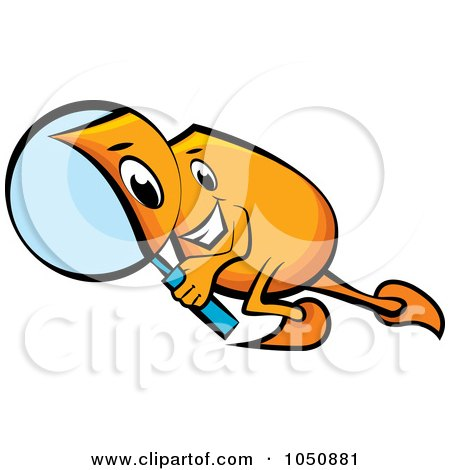 Royalty-Free (RF) Clip Art Illustration of an Orange Blinky Searching With A Magnifying Glass by MilsiArt