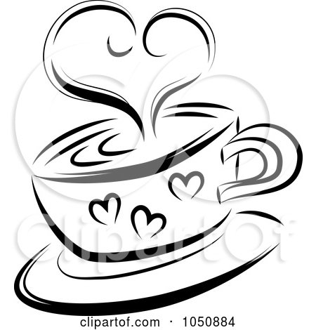 Royalty-Free (RF) Clip Art Illustration of a Black And White Sketched Heart Over A Coffee Cup by MilsiArt