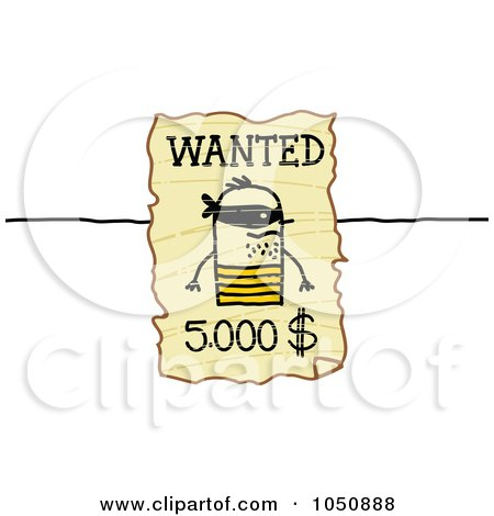 Royalty-Free (RF) Clip Art Illustration of a Wanted Stick Man Poster by NL shop