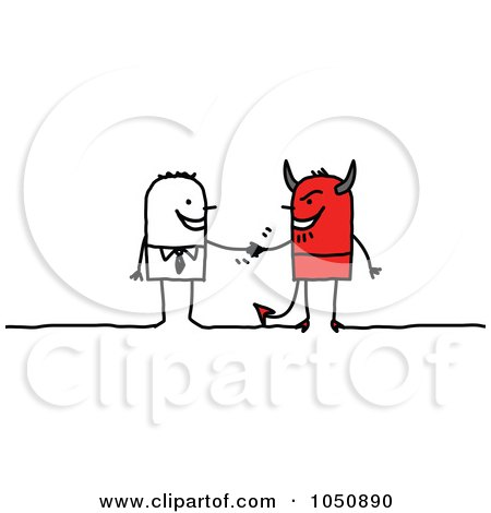Stick Businessman Shaking Hands With A Devil Posters, Art Prints