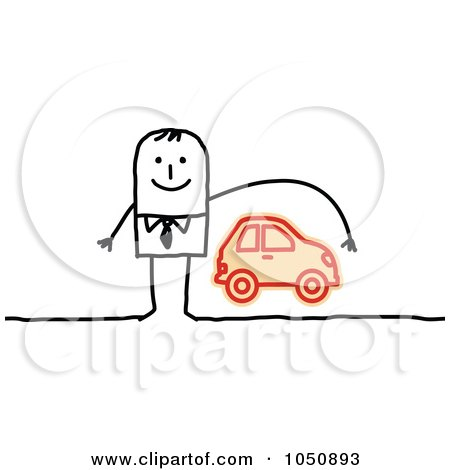 Royalty-Free (RF) Clip Art Illustration of a Stick Businessman Reaching Over A Car, Auto Insurance by NL shop