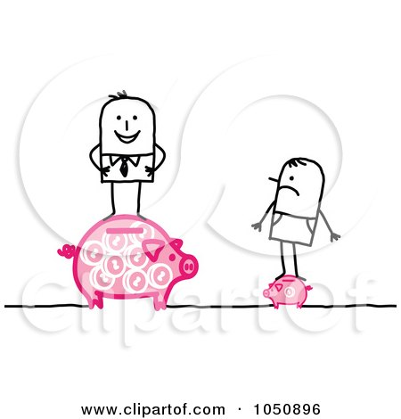 Royalty-Free (RF) Clip Art Illustration of a Stick Businessman Standing On A Big Piggy Bank, A Poor Man Standing On A Little One by NL shop