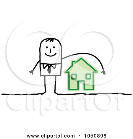 Royalty-Free (RF) Clip Art Illustration of a Stick Insurance Agent Businessman Reaching Over A House by NL shop
