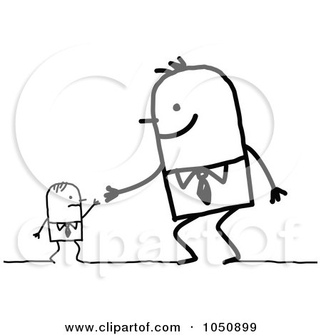 Big Stick Businessman Shaking Hands With An Employee Posters, Art Prints