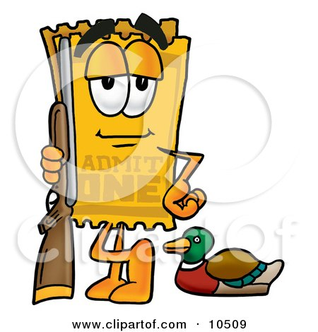 Clipart Picture of a Yellow Admission Ticket Mascot Cartoon Character Duck Hunting, Standing With a Rifle and Duck by Toons4Biz