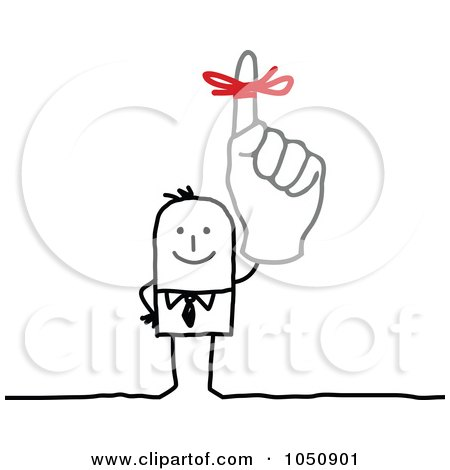 Royalty-Free (RF) Clip Art Illustration of a Stick Businessman Wearing A Reminder Ribbon by NL shop