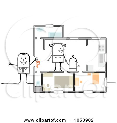 Royalty-Free (RF) Clip Art Illustration of a Stick Real Estate Agent Showing A Home To A Single Mother by NL shop