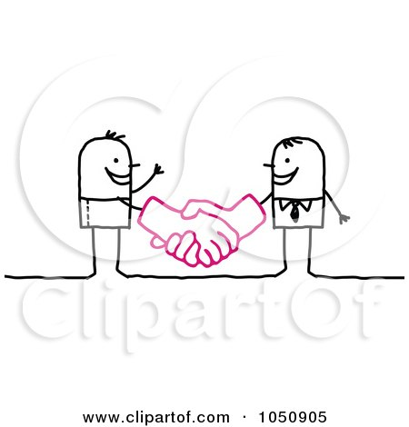 Stick Businessman Shaking Hands With A Client Posters, Art Prints