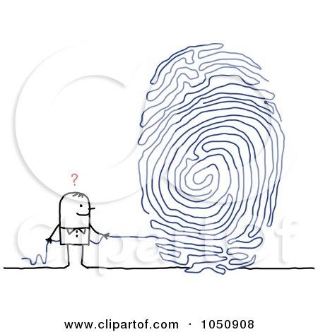 Royalty-Free (RF) Clip Art Illustration of a Stick Man Pulling A String Fingerprint by NL shop