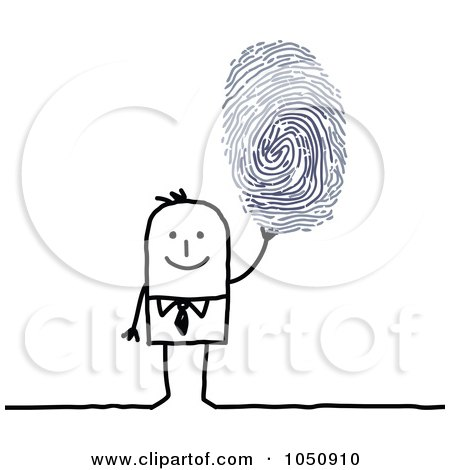 Royalty-Free (RF) Clip Art Illustration of a Stick Businessman Holding Up A Finger Print by NL shop