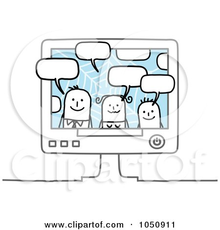 Royalty-Free (RF) Clip Art Illustration of a Stick Family Chatting In A Computer by NL shop