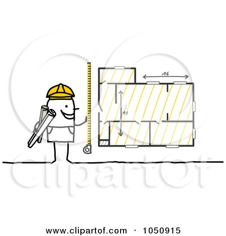 Royalty-Free (RF) Clip Art Illustration of a Stick Architect Measuring Blueprints by NL shop