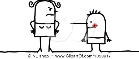 Royalty-Free (RF) Clip Art Illustration of a Stern Mother With A Lying Son by NL shop
