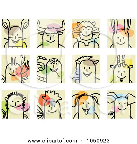 Royalty-Free (RF) Clip Art Illustration of a Digital Collage Of Chinese Zodiac Stick Squares by NL shop