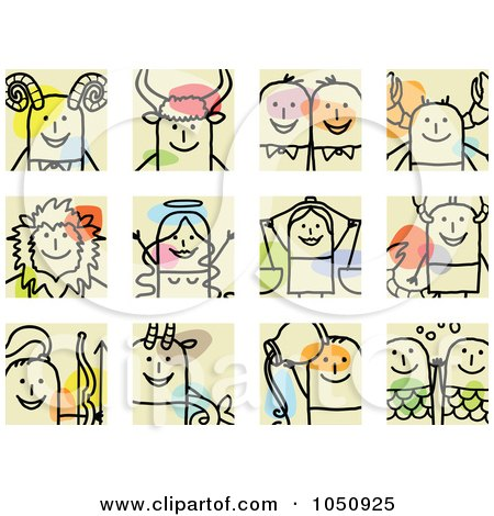 Royalty-Free (RF) Clip Art Illustration of a Digital Collage Of Astrology Stick Squares by NL shop