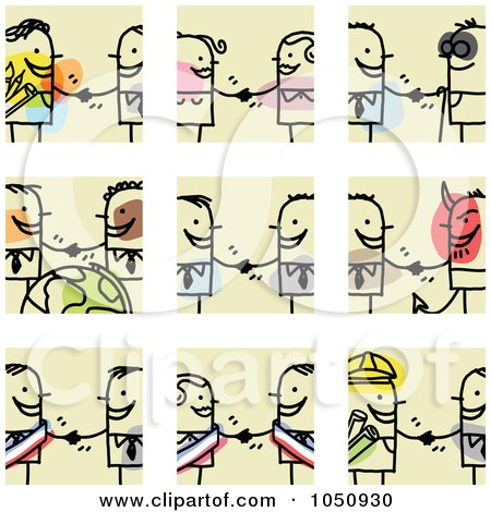 Digital Collage Of Stick Business Men And Women Shaking Hands Posters, Art Prints