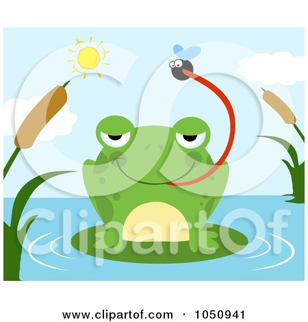 Royalty-Free Vector Clip Art Illustration of a Frog Catching A Fly On A Pond by Hit Toon