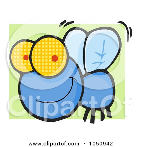 Royalty-Free Vector Clip Art Illustration of a Happy Blue Fly Over Green by Hit Toon