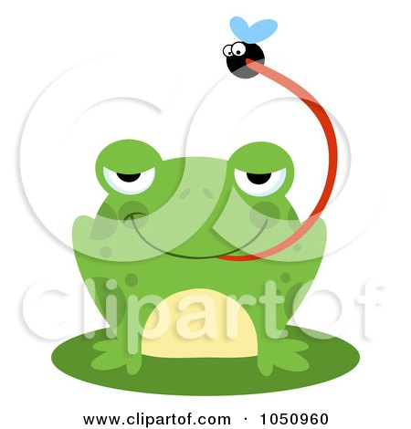 Royalty-Free Vector Clip Art Illustration of a Frog Catching A Fly by Hit Toon