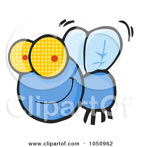Royalty-Free Vector Clip Art Illustration of a Happy Blue Fly by Hit Toon