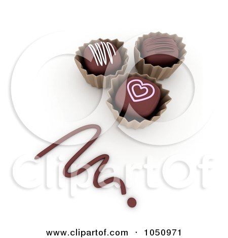 Royalty-Free (RF) Clip Art Illustration of 3d Valentine Chocolates With A Chocolate Scribble by BNP Design Studio
