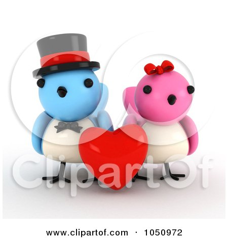 Royalty-Free (RF) Clip Art Illustration of a 3d Bird Couple With A Red Heart by BNP Design Studio