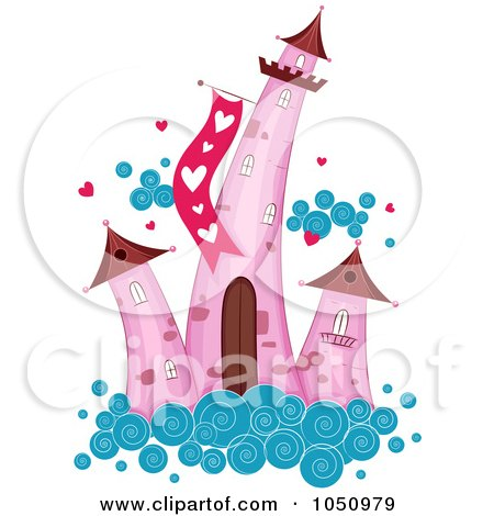 Royalty-Free Vector Clip Art Illustration of Pink Valentine Towers On A Cloud by BNP Design Studio