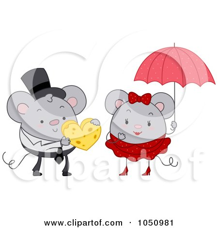 Royalty-Free Vector Clip Art Illustration of a Mouse Giving Cheese To His Valentine by BNP Design Studio